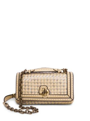 Bottega Veneta Olimpia Intrecciato-Knot Leather Cross-Body Bag In  Butterscotch ac34d00fc6f7b
