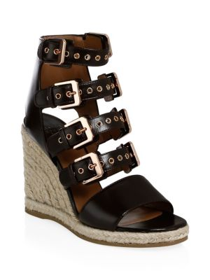 LAURENCE DACADE Rosario Buckled Leather Espadrille Wedge Sandals in Chocolate