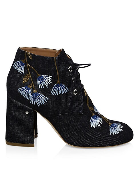 """Image of Joyful denim booties with embroidered floral design. Self-covered block heel, 3.5"""" (90mm).Cotton jean upper. Round toe. Lace-up style. Leather lining and sole. Made in Italy."""