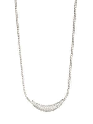 Sterling Silver Classic Chain Silver Pave Diamond Arch Necklace, 16 in Silver/ Diamond