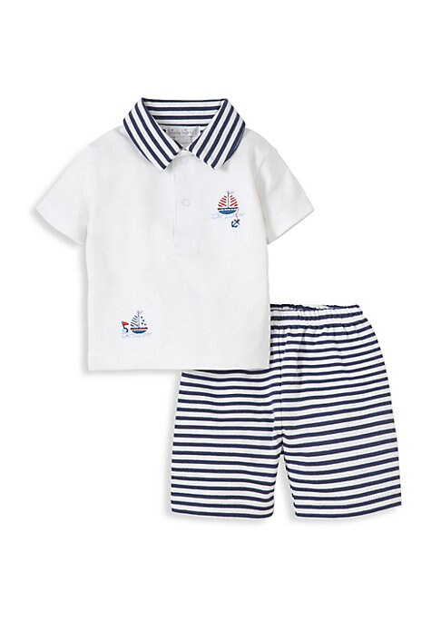 Image of Striped Bermuda shorts set with matching polo shirt. Pima cotton. Machine wash. Imported. .SHIRT. Fold-over style. Short sleeves. Snap button-front. SHORTS. Elasticized waist. Pull-on style.