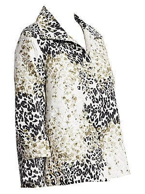 """Image of A-line jacket in bold two-tone print Fold-over collar Long sleeves Open front About 32"""" from shoulder to hem Polyester/cotton Dry clean Made in USA Model shown is 5'10 (177cm) wearing US size 4. Salon Z - Salon Z Collections. Caroline Rose. Color: Multibl"""