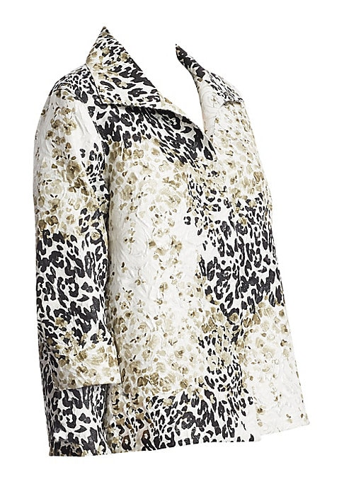 """Image of A-line jacket in bold two-tone print. Fold-over collar. Long sleeves. Open front. About 32"""" from shoulder to hem. Polyester/cotton. Dry clean. Made in USA. Model shown is 5'10"""" (177cm) wearing US size 4. ."""