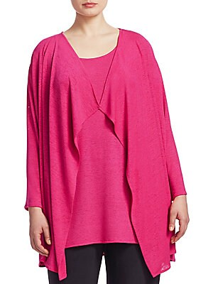 """Image of Draped cardigan and tank set in lightweight design. Polyester/spandex. Dry clean. Made in USA. CARDIGAN Draped neckline Long sleeves Open front TANK Scoop neck Sleeveless Pullover style About 31"""" from shoulder to hem Model shown is 5'10 (177cm) wearing US"""