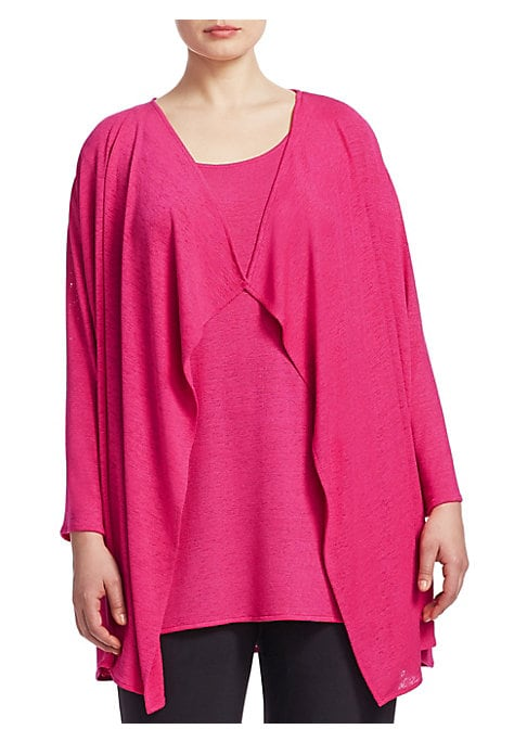 "Image of Draped cardigan and tank set in lightweight design. Polyester/spandex. Dry clean. Made in USA. .CARDIGAN. Draped neckline. Long sleeves. Open front. TANK. Scoop neck. Sleeveless. Pullover style. About 31"" from shoulder to hem. Model shown is 5'10"" (177cm)"