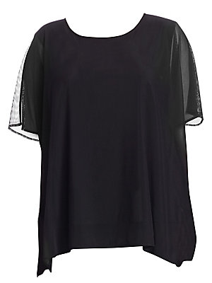 """Image of Caftan-style top in lightweight illusion mesh Scoop neck Short sleeves Pullover style About 32"""" from shoulder to hem Nylon/spandex Dry clean Made in USA Model shown is 5'10 (177cm) wearing US size 4. Salon Z - Salon Z Collections. Caroline Rose. Color: Bl"""