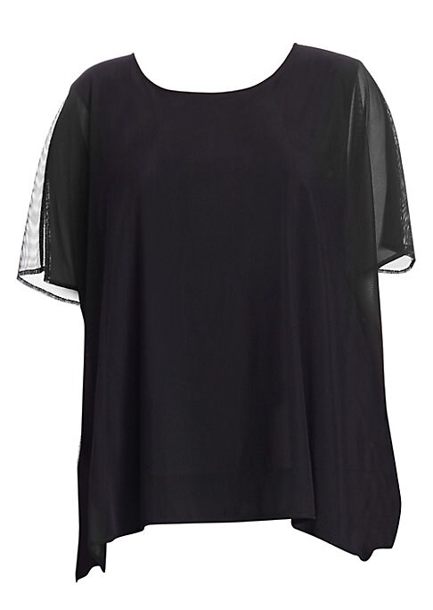 """Image of Caftan-style top in lightweight illusion mesh. Scoop neck. Short sleeves. Pullover style. About 32"""" from shoulder to hem. Nylon/spandex. Dry clean. Made in USA. .Model shown is 5'10"""" (177cm) wearing US size 4. ."""