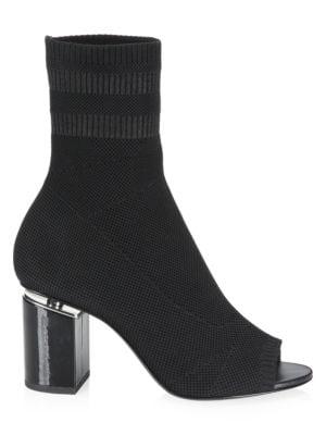 Cat Mid Heel Peep Toe Sock Booties, Black
