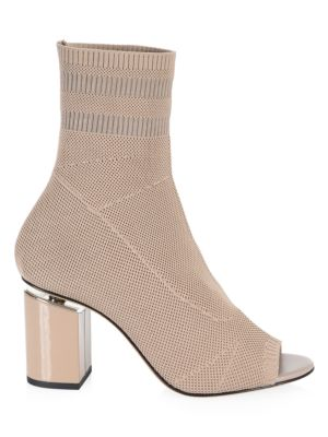 Cat Mid Heel Peep Toe Sock Booties, Nude