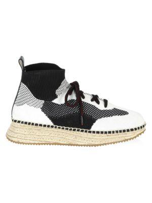 Dakota Stretch-Knit Espadrille Sneakers, Black-White