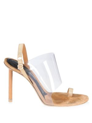Kaia Grosgrain-Trimmed Suede And Pvc Slingback Sandals in Neutral