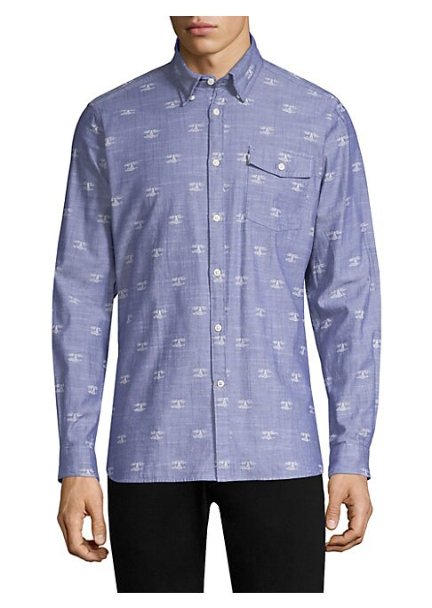 "Image of Casual cotton button-down shirt with allover print. Point collar. Long sleeves. Buttoned barrel cuffs. Button front. Chest flap pocket with button closure. About 29"" from shoulder to hem. Cotton. Machine wash. Imported."