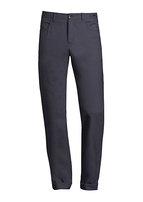 """Image of EXCLUSIVELY AT SAKS FIFTH AVENUE. Modern fit 5-pocket pant in techno wool with stretch. Belt loops. Zip fly with button tab closure. Five-pocket style.V-split back waistband. Rise, about 10"""".Inseam, about 37"""".Leg opening, about 15"""".Wool/nylon/elastane. Dr"""