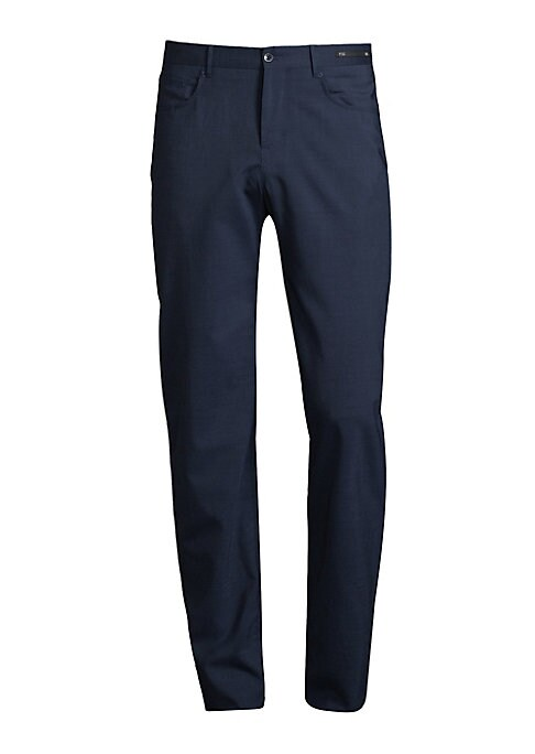 """Image of EXCLUSIVELY AT SAKS FIFTH AVENUE. Modern fit 5-pocket pant in techno wool with stretch. Belt loops. Zip fly with button closure. Five-pocket style.V-split back waistband. Rise, about 10"""".Inseam, about 37"""".Leg opening, about 15"""".Wool/nylon/elastane. Dry cl"""