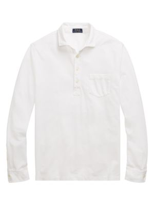 """Image of Versatile long-sleeve polo in lightweight cotton. Spread collar. Long sleeves. Button cuffs. Four-button placket. Chest patch pocket. About 28"""" from shoulder to hem. Cotton. Machine wash. Imported."""