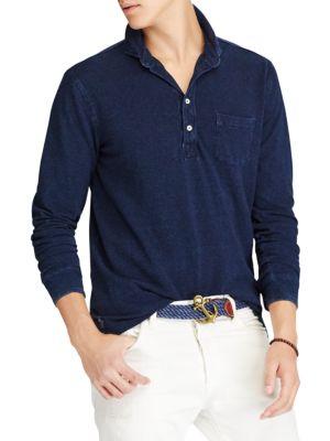 8432cd0270c Polo Ralph Lauren Featherweight Mesh Long Sleeve Polo In Indigo ...