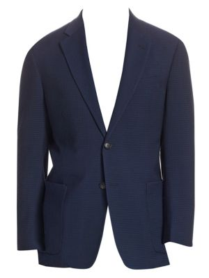 """Image of Wool jacket with allover textured design. Notch lapels with buttonhole. Long sleeves. Button front. Chest welt pocket. Side patch pockets. Dual back vents. About 28"""" from shoulder to hem. Wool. Dry clean. Imported."""