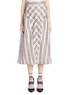 Gonna Sun Stripe Gauze Jacquard Skirt With Pleated Sides in White