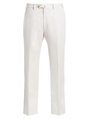 "Image of Lightweight trousers cut in a classic silhouette Inseam, about 35"" Rise, about 15"" Linen/flax Dry clean Made in Italy. Men Luxury Coll - Armani Clothing. Emporio Armani. Color: Pearl. Size: 52 (36) R."