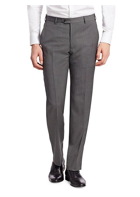 """Image of Classic dress pants crafted from luxurious wool. Belt loops. Zip fly with tab-button closure. Side slash pockets. Back welt pockets. Rise, about 14"""".Inseam, about 33"""".Wool. Dry clean. Made in Italy."""
