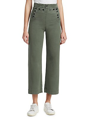 """Image of Cropped cotton pants with front button accents Button-front Front on-seam pockets Back patch pockets Pull-on style Rise, about 12"""" Inseam, about 29"""" Cotton/elastane Hand wash Imported Model shown is 5'10 (177cm) wearing US size 4. Contemporary Sp - Worksh"""