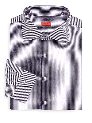 "Image of Seersucker stripes add texture to polished shirting Point collar Long sleeves Button front Button cuffs About 29"" from shoulder to hem Cotton Dry clean Made in Italy. Men Luxury Coll - Isaia. Isaia. Size: 39 (15.5)."