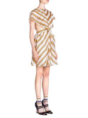 Cape-Effect Cutout Striped Silk-Blend Organza Mini Dress in White