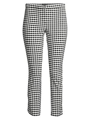 """Image of From the Saks IT LIST MAD FOR PLAID See the traditional check in dozens of new ways. Streamlined pant in gingham checks Narrow waistband Zip fly Rise, about 11"""" Inseam, about 29"""" Viscose/elastane Dry clean Made in USA of Italian fabric Model shown is 5'10"""