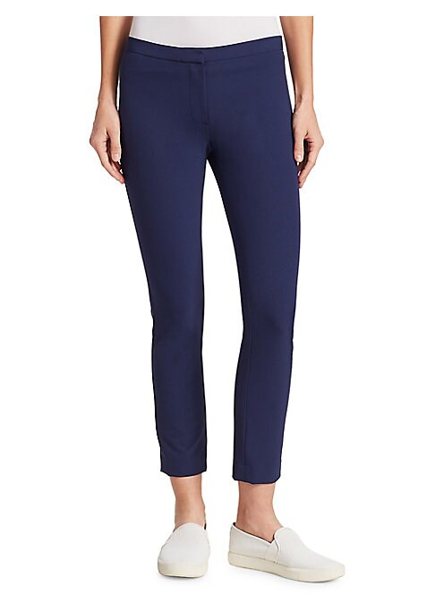 "Image of Skinny pant with narrow waistband. Zip fly. Rise, about 11"".Inseam, about 29"".Nylon/elastane. Dry clean. Made in USA of Italian fabric. Model shown is 5'10"" (177cm) wearing US size 4."