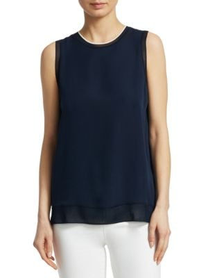 Lewie Silk Combo Tank by Theory