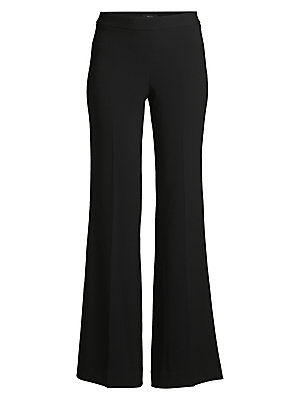 "Image of Crepe pant in a flared silhouette Banded waist Side zip closure Rise, about 11"" Inseam, about 33"" Triacetate/polyester Dry clean Made in USA of Japanese fabric Model shown is 5'10"" (177cm) wearing US size 4. Contemporary Sp - Theory Sportswear. Theory. Co"