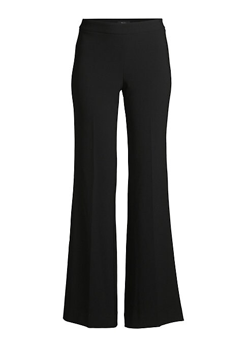 """Image of Crepe pant in a flared silhouette. Banded waist. Side zip closure. Rise, about 11"""".Inseam, about 33"""".Triacetate/polyester. Dry clean. Made in USA of Japanese fabric. Model shown is 5'10"""" (177cm) wearing US size 4."""