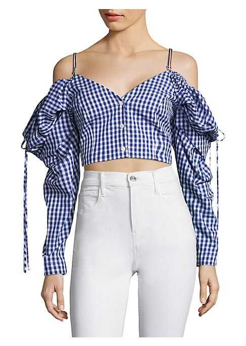 """Image of Cropped off-the-shoulder top in checked print. Off-the-shoulder.V-neck. Long sleeves. Button-front. About 7"""" from shoulder to hem. Cotton. Dry clean. Made in USA. Model shown is 5'10"""" (177cm) wearing US size 4. ."""