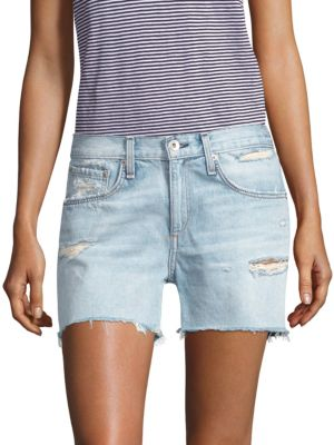 Justine Vintage High-Rise Denim Shorts, Martini