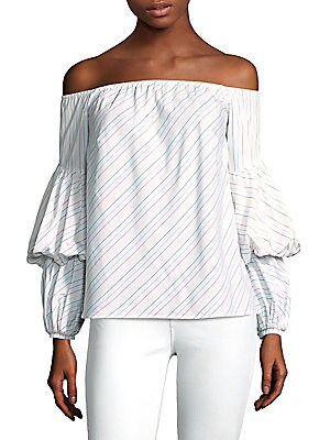 """Image of Off-the-shoulder top in colorful striped print Off-the-shoulder Long sleeves Pullover style About 19"""" from shoulder to hem Cotton Dry clean Made in USA Model shown is 5'10 (177cm) wearing US size 4. Contemporary Sp - Trend. Petersyn. Color: Confetti Strip"""