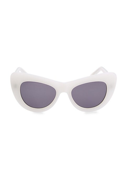 Image of Oversized tonal lenses with a sculpted cat eye shape.53mm lens width; 19mm bridge width; 140mm temple length.100% UV protection. Case and cleaning cloth included. Acetate. Imported.