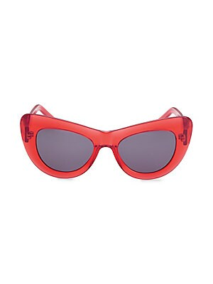 Image of Oversized tonal lenses with a sculpted cat eye shape 53mm lens width; 19mm bridge width; 140mm temple length 100% UV protection Case and cleaning cloth included Acetate Imported. Soft Accessorie - Sunglasses > Saks Fifth Avenue. Andy Wolf. Color: Red Blac