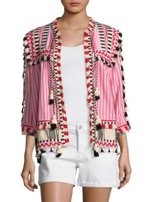 """Image of Tassel trimmed cardigan in colorful striped print. Collarless. Three-quarter sleeves. Open front. About 26"""" from shoulder to hem. Cotton. Dry clean. Imported. Model shown is 5'10"""" (177cm) wearing US size 4. ."""