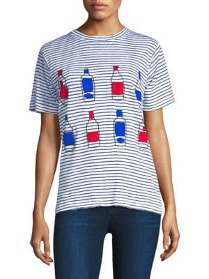 BANNER DAY Wine Striped Linen Tee in Navy White