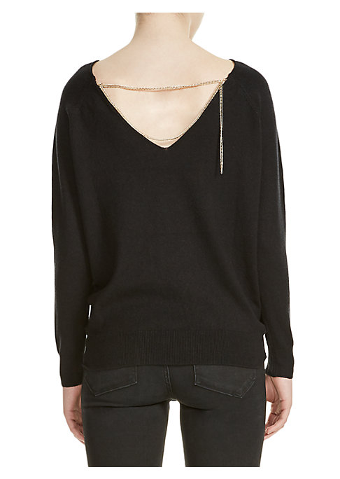 """Image of Knit pullover with edgy back chain detail. Boatneck. Long sleeves.V-neck at back. Pullover style. About 23"""" from shoulder to hem. Cotton/silk/polyamide. Dry clean. Imported. Model shown is 5'10"""" (177cm) wearing US size Small."""