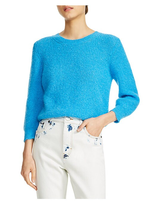 """Image of Soft textured knit sweater in a cropped silhouette. Roundneck. Three-quarter sleeves. Pullover style. Polyamide/alpaca/mohair. Hand wash. Made in Italy. SIZE & FIT. Cropped silhouette. About 19"""" from shoulder to hem. Model shown is 5'10"""" (177cm) wearing U"""