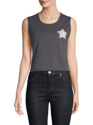 SANDRINE ROSE Own Your World Malibu Death Valley Cropped Tank Top in Grey