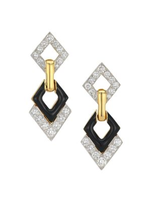 David Webb Motif 18k Yellow Gold, Platinum, Black Enamel & Double Diamond Interlocking Earrings
