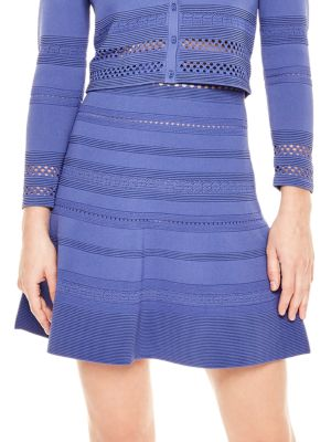 A-Line Pointelle-Knit Mini Skirt in Blue