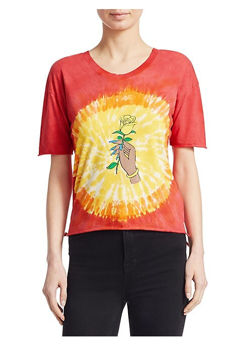 """Image of EXCLUSIVELY AT SAKS FIFTH AVENUE. Tie dye tee with front rose graphic. Roundneck. Short sleeves. Pullover style. About 34"""" from shoulder to hem. Cotton. Machine wash. Imported. Model shown is 5'10"""" (177cm) wearing US size Small."""