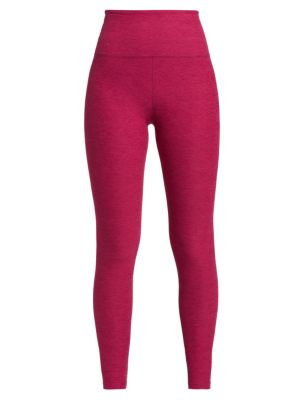 "Image of Cropped marled leggings. Wide waistband. Rise, about 10"".Inseam, about 24"".Leg opening, about 8"".Polyester/spandex. Hand wash. Imported. Model shown is 5'10"" (177cm) wearing US size Small."