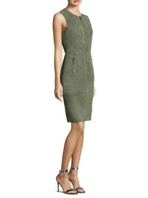 Suede Front-Zip Sheath Dress, Dark Mint