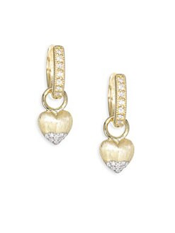 4c6c7a1d8 Jude Frances. Lisse Diamond Gold Puffy Heart Drop Earring Charms
