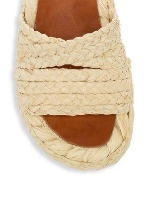 c77c684232f Robert Clergerie Idalie Natural Braided Raffia Flat Sandals In Neutrals