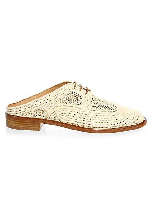 "Image of An open back modernizes woven raffia oxfords. Stacked heel, 1"" (25mm).Raffia upper. Almond toe. Slip-on style with decorative lacing. Leather lining and sole. Made in France. Please note: Style runs large, we suggest ordering one half-size down."